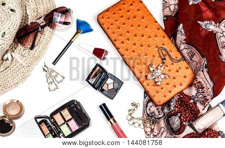 bright trendy accessories for women on a white background