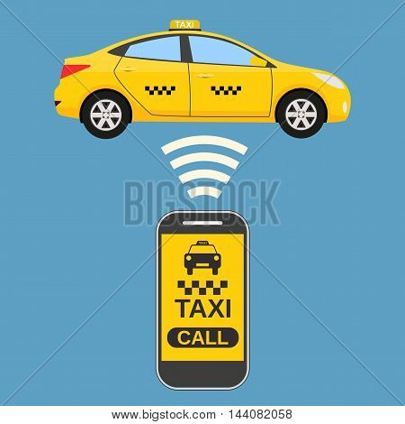 Taxi mobile app concept. Smartphone with mobile app and yellow taxi car. Taxi for smartphone. Call taxi. illustration in simple flat design