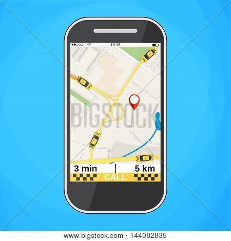 Smartphone with taxi service application on a screen. Taxi ordering interface. vector illustration in flat design