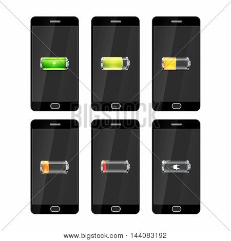 Set of six black smartphones with glossy batteries icons with different charge level
