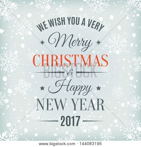 Merry Christmas and Happy New Year 2017 text label on a winter background with snow and snowflakes. Greeting card template. Vector illustration.
