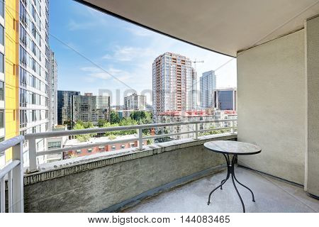 View From Balcony. Apartment Building In Seattle.