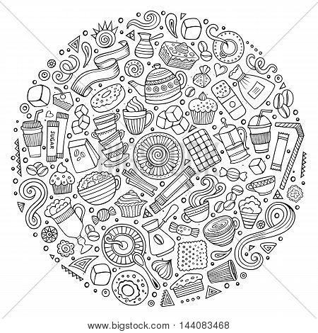 Line art vector hand drawn set of Cafe cartoon doodle objects, symbols and items. Round composition