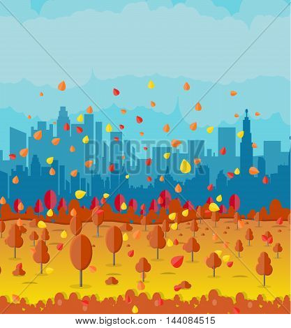 Autumn cityscape with park alley, office and residental buildings, falling leaves. sky. vector illustration
