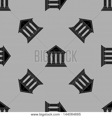 Greek Temple Icon Seamless Pattern on Grey Background.
