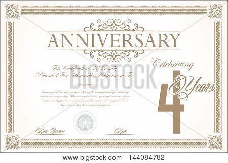 Anniversary retro vintage background vector 4 years