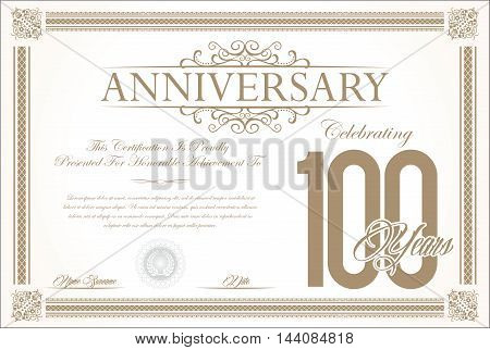 Anniversary retro vintage background vector 100 years