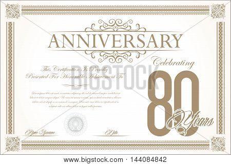 Anniversary retro vintage background vector 80 years