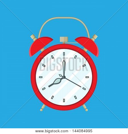 Red Alarm Clock on blue background. Vector Illustration in flat style