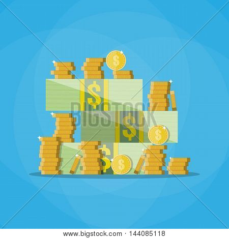 Stacks of cash with a pile of gold coins. vector illustration in flat style on blue background