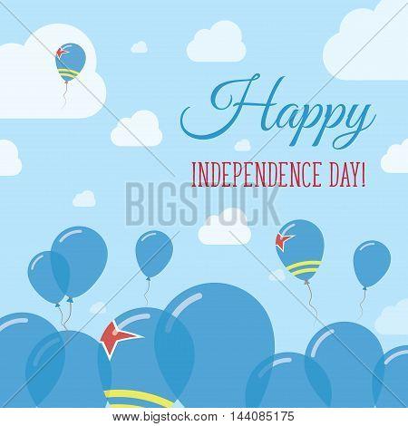 Aruba Independence Day Flat Patriotic Design. Aruban Flag Balloons. Happy National Day Vector Card.