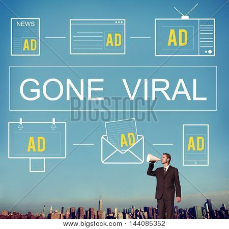 Gone Viral Advertisement Commercial Digital Marketing Concept