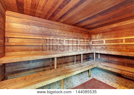 Interior Of Wooden Sauna.