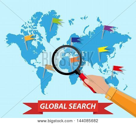 Global search concept, world map and human hand with magnifying glass. vector illustration in flat style