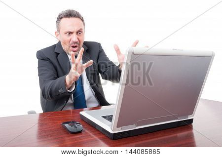 Terrified Manager Seeing Something On Laptop And Screaming