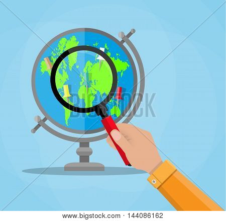 Globe with blue earth and green continents world map and magnifying glass in human hand. vector illustration in flat style