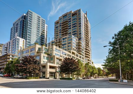 View Of Apartment Building With Clear Sky Background