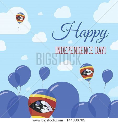 Swaziland Independence Day Flat Patriotic Design. Swazi Flag Balloons. Happy National Day Vector Car