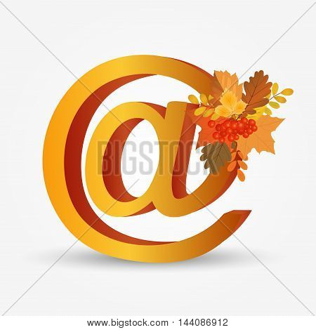 AT symbol with autumn leaf. Vector illustration.