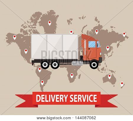Transportations and logistics. truck on brown background with world map. vector illustration in flat style