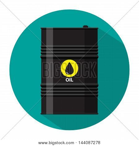 black metal oil barrel with logo icon. vector illustration in flat style