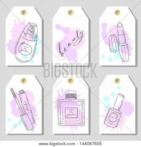 Hand drawn cosmetics set of gift tags. Beauty and makeup. Sketch