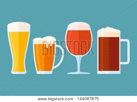 Set of beer glasses isolated on blue background. Different types of beer: light, classic, red, dark. Flat style horizontal banner. Vector illustration.