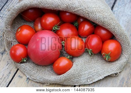 Red tomatoes on bag on background boards