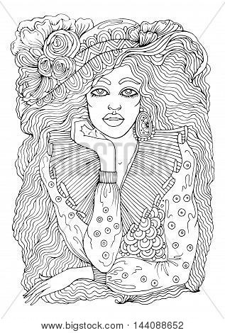 Vector hand drawn portrait of fashion thoughtful girl. Dreamy girl in the hat with flowers and long hair. Pattern for coloring book A4 size. .Coloring book for adults. Zentangle drawing.