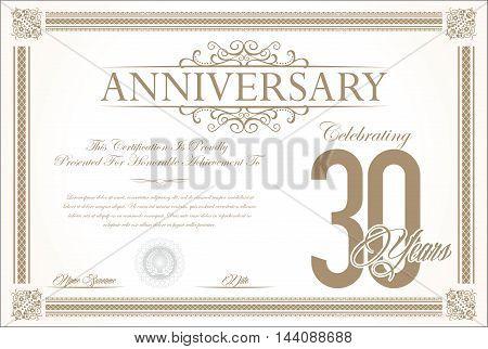 Anniversary retro vintage background vector 30 years