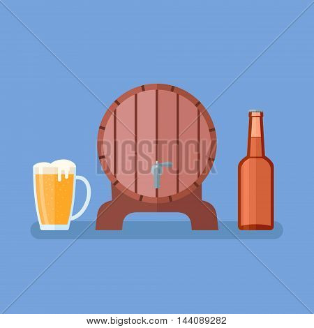 Beer mug, glass bottle and wooden barrel on blue background. Flat style vector illustration.