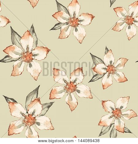 Blooming garden. Floral seamless pattern. Watercolor painting 5