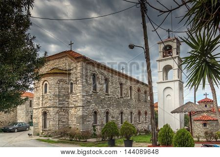 Stone Church and bell tower in Ammouliani island, Athos, Chalkidiki, Central Macedonia, Greece
