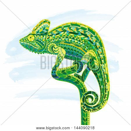 Hand drawn doodle outline chameleon illustration. Decorative in zentangle style. Patterned fiery on the grunge background. It may be used for design a t-shirt, bag, postcard, poster and so .
