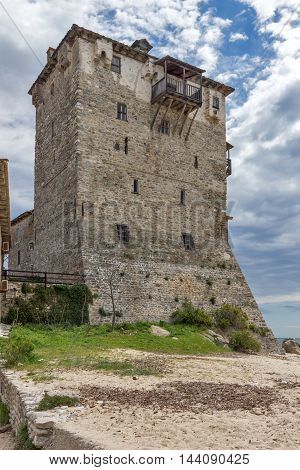Medieval tower in  Ouranopoli, Athos, Chalkidiki, Central Macedonia, Greece