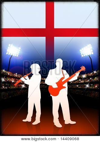 England Live Music Band on Stadium Concert Background with Flag Original Illustration