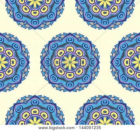 Hand drawn seamless pattern with mandalas. Endless texture can be used for wallpaper pattern fills web page background surface textures