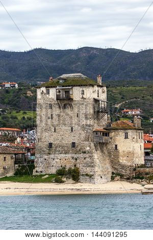 Medieval tower and panorama to Ouranopoli, Athos, Chalkidiki, Central Macedonia, Greece