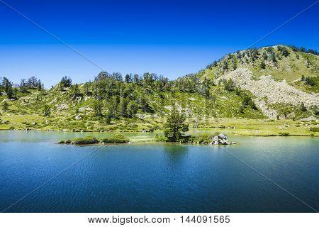 Little Island Over The Lac De Bastan, Saint Lary Soulan