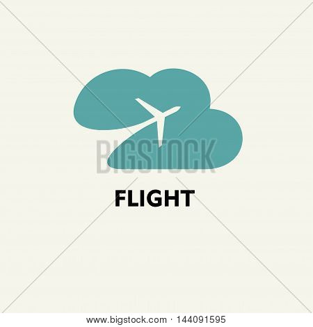 Silhouette of flying plane in the cloud. Template for logo, emblem.