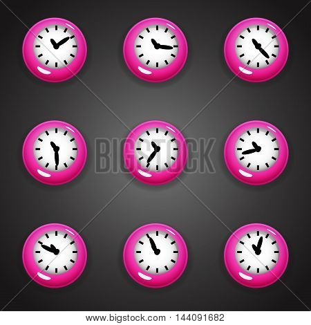 Set of colorful cartoon style clock timer for game with animated hands