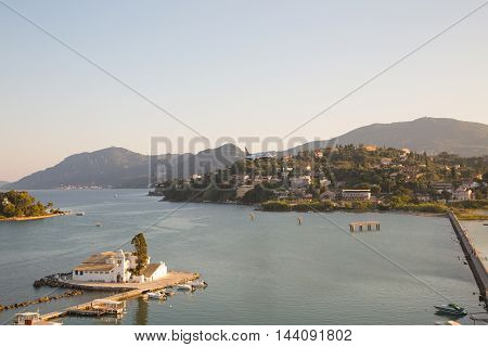 Mouse Island and the Vlacherna Monastery on the Kanoni peninsula of Corfu