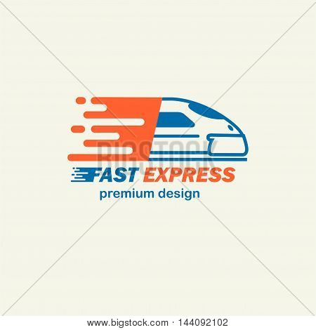 Fast Expres. The template for logos, icons of modern trains. Editable EPS format design element, arts and crafts concept.