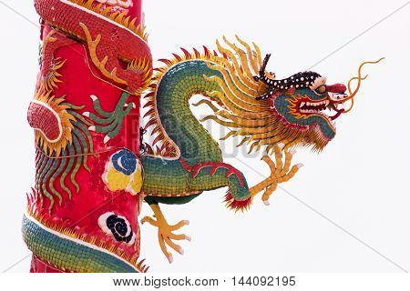 Chinese Green Dragon Wrapped around red pole on isolate background