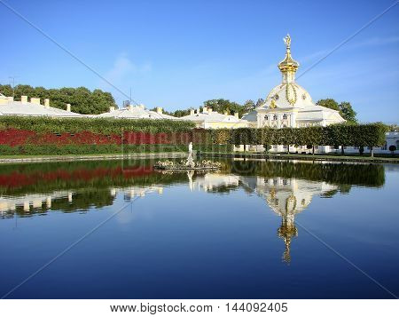 Peterhof. Upper Garden. Fountains square ponds. Russia.