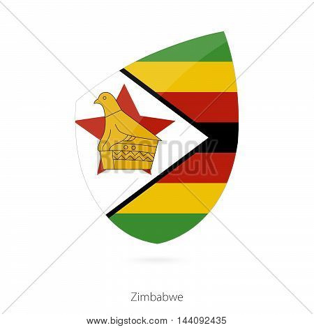 Flag Of Zimbabwe In The Style Of Rugby Icon.