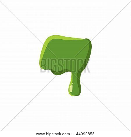 Punctuation mark dash from latin alphabet with numbers and symbols made of green slime. Font can be used for Halloween design and other purposes
