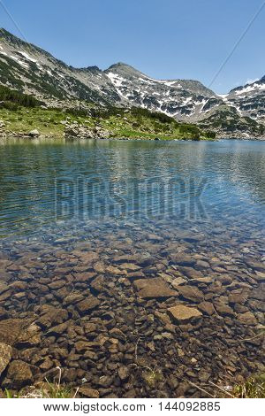 Panoramic view of Dzhano peak and Popovo lake, Pirin Mountain, Bulgaria