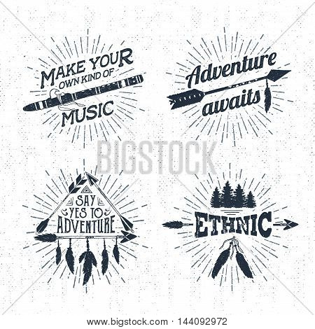 Hand drawn tribal labels set with flute arrows and feathers vector illustrations and inspirational lettering.