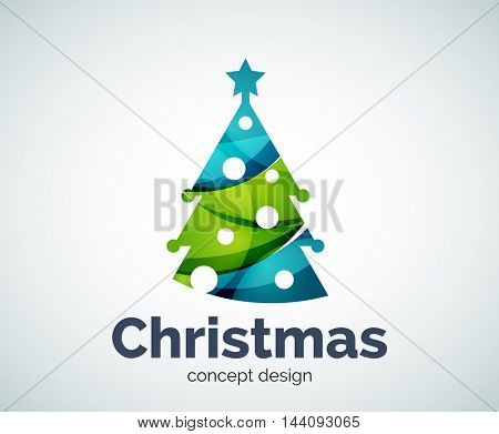 Vector Christmas or New Year tree logo template, abstract business icon